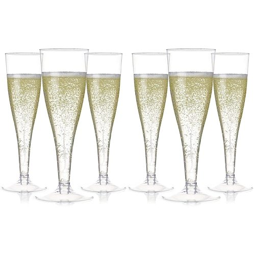 6pcs Plastic Champagne Flutes Disposable Clear Cups Toasting Glasses Wedding Party Supplies