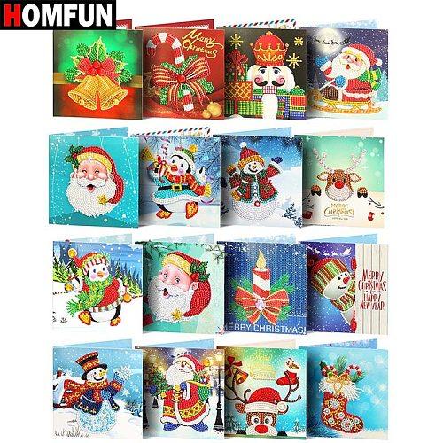 HOMFUN Diamond Painting Greeting Cards Cartoon Christmas Birthday Postcards 5D DIY Kids Festival Embroidery Greet Cards Gift