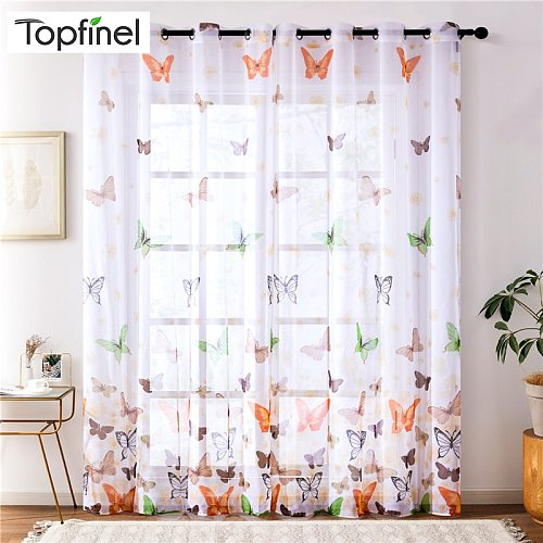 Topfinel Butterfly Sheer Curtains For Living Room Bedroom Colorful Voile Tulles Blinds Kitchen Window Treatments Panel Drapes