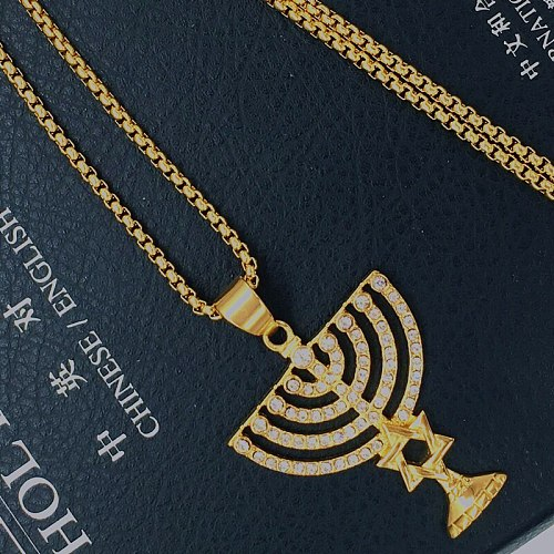 Necklace&pendant Gold Filled Menorah symbol Messianic Hebrew Necklace