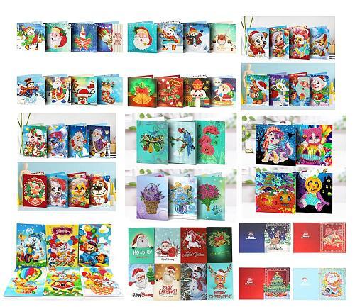 4/5/6/8pcs Diamond Painting Christmas Cards Diamond Mosaic Emboridery Beads Christmas Cards Postcards Birthday Xmas Gift