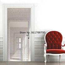 Self Adhesive  White Gray Space Wallpaper 3D Nordic Style Living Room Bedroom Door StickerArt Mural Sticker Wall Decals