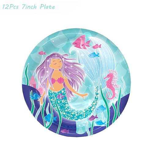 57Pcs Mermaid Party Supplies Kit Baby Shower Party Favor Girls 1st Birthday Party Decoration Under the Sea Theme Wedding Party