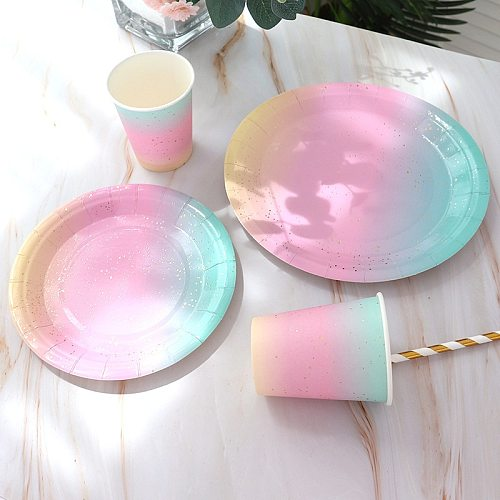 Party Tableware Disposable Birthday Paper Plate Dessert Table Cake Plate Hot Rainbow Plate Decorative Dining Plate