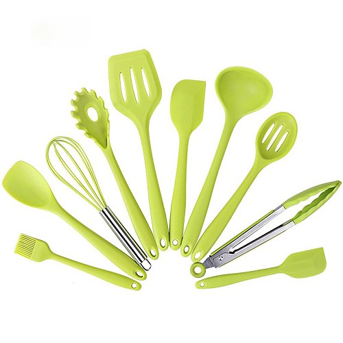 10PCS Heat Resistant Cookware Set Nonstick Silicone Kitchenware Cooking Tools Scoop and Shovel Kit Tool Kitchen Accessories