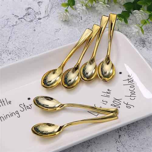 24PCS Plastic Disposable Spoons Golden Mini Spoon Set Plastic Imitate Metal Flatware For Barbecue Party Picnic Kitchenware