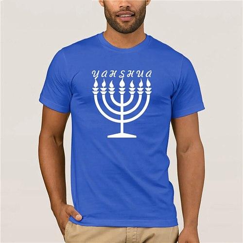 100% Cotton  brand men shirt Hebrew Israelite Menorah Yahweh Yahshua Yeshua Torah fashion summer tshirt