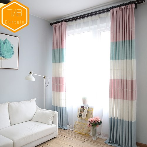 Simple Modern Fashion Geometry Pattern Curtains for Living Room Bedroom Diablement Fort Striped Custom Mediterranean Style
