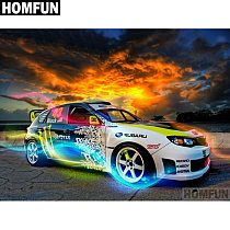 HOMFUN Full Square/Round Drill 5D DIY Diamond Painting  speed racing car  3D Embroidery Cross Stitch 5D Decor Gift A00532