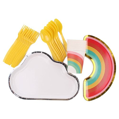 40Pc/Set Rainbow Clouds Theme Disposable Tableware Birthday Decoration Baby Shower Plates Cups Fork Spoons Napkin Party Supplies