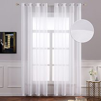2 Pcs Modern Solid Tulle Curtains for Living Room Bedroom Kitchen Sheer Curtains Pure White Window Voile Panel 52 X84