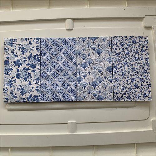 Vintage table napkin paper elegant tissue blue pattern handkerchief decoupage wedding Christmas serviette dinner decor 33*40cm