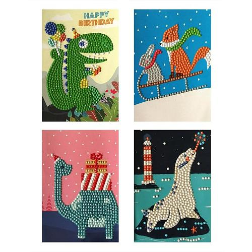 5D DIY Drills Diamond Painting Greeting Cards Happy Birthday Mosaic Cards Party New Year Gifts Party Decoration  4pcs