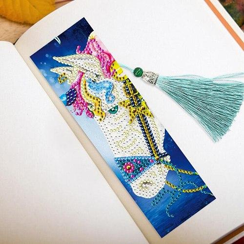 2PCS/Set DIY Special Shaped Diamond Painting Bookmarks diamond Embroidery Cross Stitch Tassel Bookmarks Books Diamond Mosaic