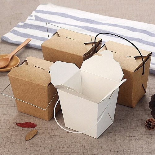 50pcs Disposable kraft paer portable lunch box white card food salad packaging box BBQ picnic favor food containers with handle