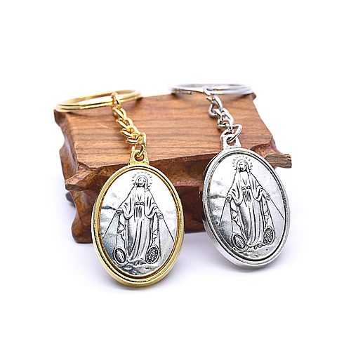 Lady of Guadalupe Virgin Mary Catholic Keychains Ancient Gold Silver Color Geometric Oval Pendant Keyring Church Souvenir Jewely