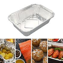 50Pcs Practical Disposable Aluminum Foil Pans 260/450/600/850/1100ml Rectangle BBQ Tray Baking Pan Food Container Kitchen Tools