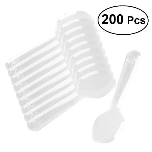 200pcs Mini Clear Plastic Spoons Disposable Flatware Spoons For Jelly Ice Cream Dessert Appetizer