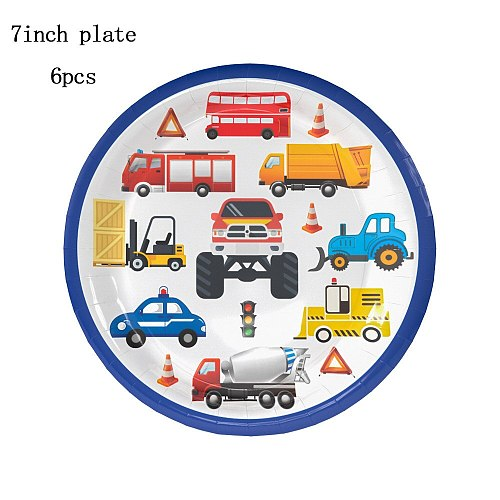 Construction Trucks Engineering Cars Party Disposable Tableware Cartoon Cars Plate Cup Napkin kids Birthday Party Decoration