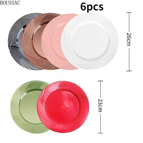 Multi-style American Plastic Plate Cake Plate Disposable Round Plastic Plate Flat Plate Steak Western Plate 6pcs