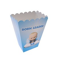6pcs Cartoon Baby Boss Disposable Tableware Popcorn Boxes Kid Boys Birthday Party Decoration Supplies Baby Shower Blue Paper Box
