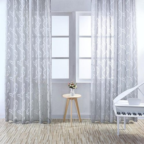 100x270 Leaf Curtain Drape Blind Gauze Curtain Door Room Divider Modern Gray Window Curtain Bedroom Window Blind Hanging Curtain
