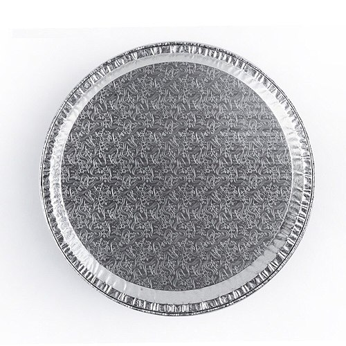 120x Round Aluminium Foil Container Pizza Cake Tray 850ml 310mm / 257mm x 18mm Embossed Food Grade