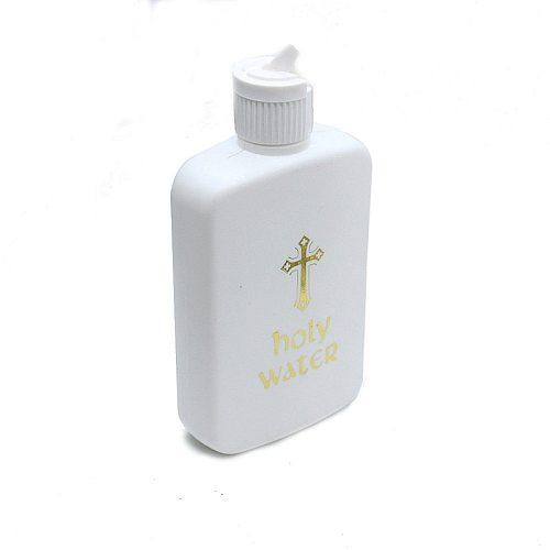 2pcs (8oz Plus 4 Oz) Frosted White Gold Cross Catholic Christian Holy Water Bottle with Flip Spout Lid Catholic Christian Supply