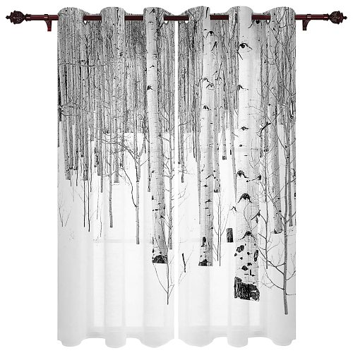 Poplar Tree Snow Valance Window Curtains For Living Room Bedroom Kitchen Home Korean Room Decor Youth Room Window Curtains