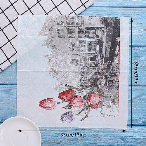 20pcs/1Bag Napkins paper Flower Pattern Decoupage Napkin Paper Tissue for Xmas Wedding Decor