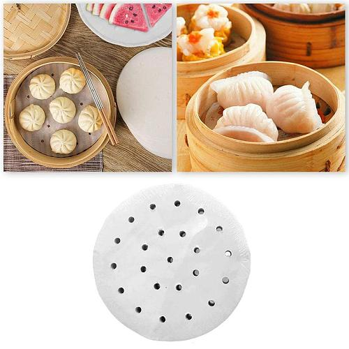 Baking Paper Air Fryer Liners Cookware 100 Pcs Disposable Paper Non-Stick 3-12Inch Bamboo Steamer Liners Paper Steaming Papers