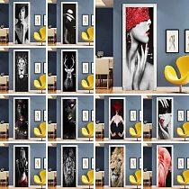Self Adhesive Decal Home Decor Animal DIY Door Sticker Modern Lady Paper For Living Room PVC Waterproof 3D Art Photo Print