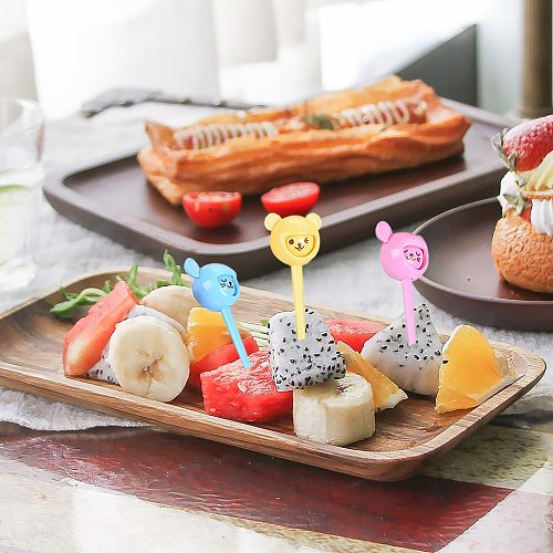 10pcs Cute Cartoon Fruit Fork Set Twisted Party Buffet Fruit Desserts Food Cocktail Sandwich Fork Stick For Home Party Supplies