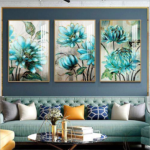 5D DIY Diamond Painting Landscape Flower Full Diamond Embroidery Blue Flowers Cross Stitch Rhinestone Home Decor Handwork Gift