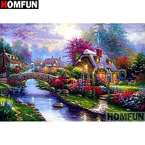 HOMFUN Full Square/Round Drill 5D DIY Diamond Painting  Flower landscape  Embroidery Cross Stitch 3D Home Decor Gift A16940