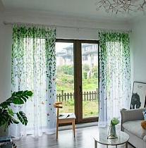 White Tulle Print Curtain Pastoral Elegant Willow Leaves Floral Transparent Decor For Spring Parlour Living Room Bedroom