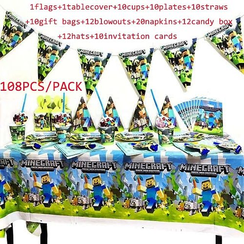86/108pcs cartoon game party set for kids boy girls mining pixel game pattern disposable tablewares flags table cover blowouts