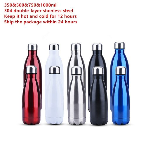 350/500/750/1000 Ml Fashion Creative Double-wall Stainless Steel Water Bottle Thermos, Thermal Insulation Bottle for Sports