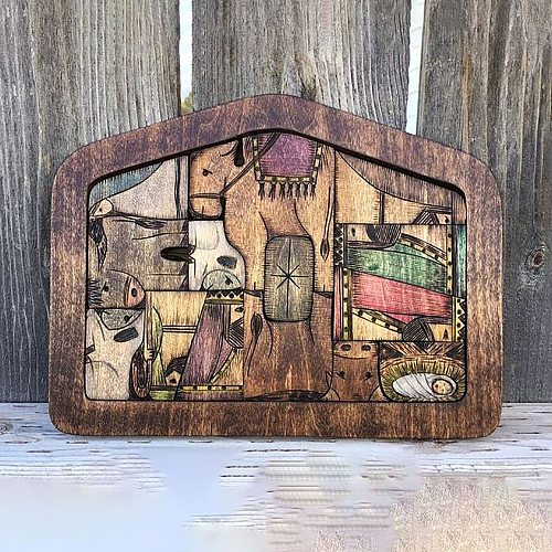 Nativity Puzzle with Wood Burned Design Wooden Jesus Puzzles Plaques Ornament Christ Scene Kids Game Figurines Miniatures Crafts