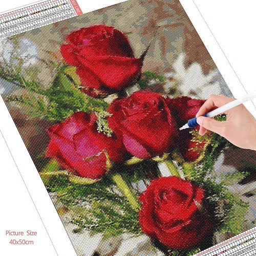 HUACAN 5D Diy Diamond Painting Kits Flowers Mosaic Embroidery Rose Cross Stitch Wall Art Decoration For Home