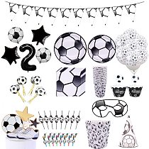 Soccer Football Theme Party Decoration Tableware Set Paper Plates Cups Napkin Candy Bag Box Baby Shower Birthday Party Supplies