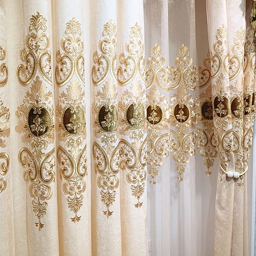 European Luxury Gold Print Curtain High Blackout Curtains For Living Dining Bedroom Window Tulle Curtains