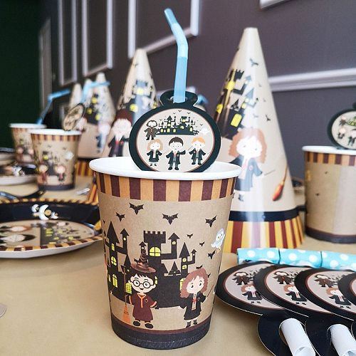 Cartoon Magic Theme Birthday Decoration Disposable Tableware Set for HP Home Academy Party Magician Birthday Party Decor Supplie