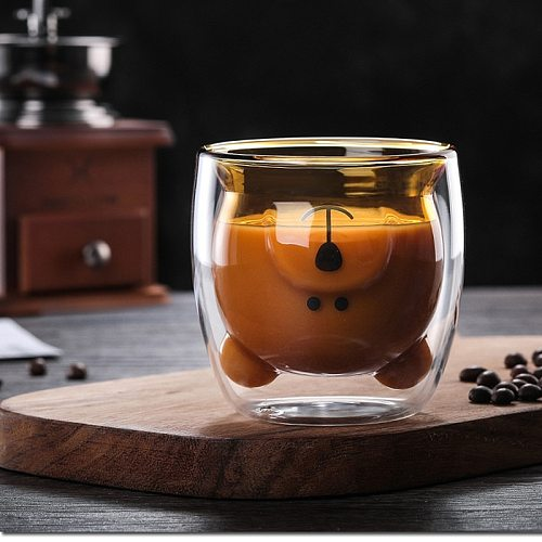3D double layer lovely panda cup innovation Christmas tree cup skull wine cup heat resistant glass coffee cup milk juice cup