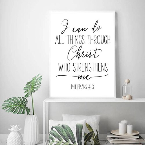 Bible Verse Philippians 4:13 Nursery Wall Art Canvas Painting Modern Scripture Quotes Christian Prints Poster Home Wall Decor