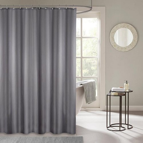 Opaque Waterproof Shower Polyester Curtains with Hooks Rings for Bathroom Bathtub Large Wide Bathing Solid Color Cover Curtain