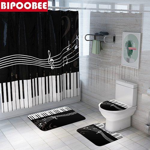 Mildew Shower Curtain Set with Hooks Piano Key Music Bathroom Decor Non-Slip Rug Toilet Seat Cover Bath Mats Sets