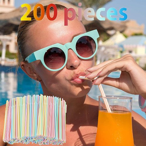 100/200/600 plastic straws 5mm bendable multi-color stripe can be placed disposable straws party multi-color rainbow straws