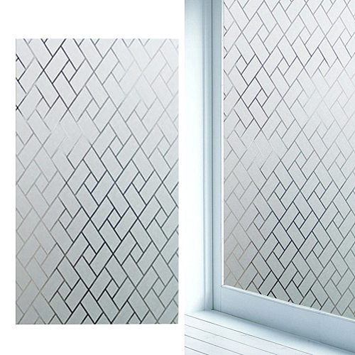 Privacy WIndows Film Rhombic Blurry Pattern Frosted Window Sticker for Bathroom Living Room 100x45cm