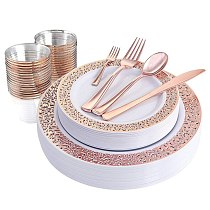 1 Sets of Rose Gold Disposable Tableware Set Cup Plastic Plate Table Knife Wedding Banquet Supplies